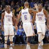 Oklahoma City Thunder\'s Reggie Jackson (15), Eric Maynor (6) and Kevin Durant (35) reacts after a shot made by Durant during the NBA basketball game between the Oklahoma CIty Thunder and the New Orleans Hornets at the Chesapeake Energy Arena on Wednesday, Dec. 12, 2012, in Oklahoma City, Okla. Photo by Chris Landsberger, The Oklahoman
