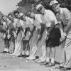 Two foursomes of Oklahoma City and Tulsa linksmen line up for the cameraman following play in Saturday\'s annual Oklahoma Cup matches in which the cityans grabbed a commanding lead. From the left are Stormy Williams, city; Ab Justice, city; Bill Daniels, Tulsa; Sig Harpman, city; Art Hall, Tulsa; Walter Emery, Tulsa; Morgan Jones, Tulsa; and Glen Fowler, city. (Photo taken Aug. 24, 1957) (Published 8/25/1957 in The Daily Oklahoman)