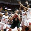 Photo - Cal Poly's Taryn Garza(15) is defended by Cal State Northridge's Ashlee Guay(5), Randi Friess(22), Bernadette Fong(53) and Breeyon Alexander(00) during the first half of an NCAA college basketball game in the final of the Big West Conference tournament, on Saturday, March 15, 2014, in Anaheim, Calif. (AP Photo/Jae C. Hong)