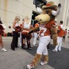 The Texas mascot Hook\'em prepares for the team to arrive during the Red River Rivalry college football game between the University of Oklahoma Sooners (OU) and the University of Texas Longhorns (UT) at the Cotton Bowl Stadium in Dallas, Saturday, Oct. 12, 2013. Photo by Chris Landsberger, The Oklahoman