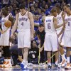 The Thunder players react after Oklahoma City\'s Nick Collison (4) was called for a foul during game 3 of the Western Conference Finals of the NBA basketball playoffs between the Dallas Mavericks and the Oklahoma City Thunder at the OKC Arena in downtown Oklahoma City, Saturday, May 21, 2011. Photo by Chris Landsberger, The Oklahoman