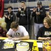 Jake Hobbs, left, and Sam Heaton signed letters to play lacrosse at Lindenwood. Athletes from Edmond North High School signed national letters of intent with colleges and universities during a ceremony in the school\'s gymnasium Wednesday morning, Nov. 13, 2013. Various sports include golf, softball, wrestling, lacrosse and others. Photo by Jim Beckel, The Oklahoman