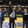 FILE - In this Feb. 28, 2012, file photo, Sacramento Mayor Kevin Johnson, center, celebrates a tentative agreement to build a new arena and keep with the in Sacramento, Calif., with Sacramento Kings owners Joe, left, and Gavin Maloof, right, during a timeout in an NBA basketball game in Sacramento, Calif. After backing out of the deal to build a new arena in Sacramento and announcing the sale of the Kings to a group that wants to move the team to Seattle, the brothers have become the city\'s most-reviled villains heading into a preliminary NBA meeting on the issue Wednesday, April 3, 2013, in New York. (AP Photo/Steve Yeater, File)