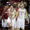 Oklahoma\'s Joanna McFarland (53) and Nicole Kornet (1) celebrate during the women\'s Bedlam basketball game between Oklahoma State University and Oklahoma at the Lloyd Noble Center in Norman, Okla., Sunday, Feb. 10, 2013.Photo by Sarah Phipps, The Oklahoman