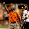 Booker T. Washington coach Darrell Hall shouts instructions during a high school football game against Carl Albert in Midwest City, Okla., Friday, September 3, 2010. Photo by Bryan Terry, The Oklahoman