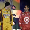 Photo - Kyle Busch, left, and Juan Pablo Montoya, of Colombia, laugh during driver introductions for the NASCAR Sprint Unlimited auto race at Daytona International Speedway, Saturday, Feb. 16, 2013, in Daytona Beach, Fla. (AP Photo/John Raoux)
