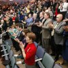 Crowds applaud after President Obama takes his oath of office, during an Inauguration watch party for UCO officials and students at the Nigh University Center Constitution Hall on the campus of the University of Central Oklahoma in Edmond, OK, Tuesday, Jan. 20, 2009. BY PAUL HELLSTERN, THE OKLAHOMAN