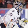 Oklahoma City Barons goaltender Yann Danis guards the net during Thursday night\'s AHL hockey playoff game against the Texas Stars at the Cox Convention Center. Photo by Steven Christy, For The Oklahoman