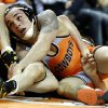 COLLEGE WRESTLING: OSU\'s Jordan Oliver wrestles Iowa\'s Michael Kelly in the 149-pound match during the wrestling dual between Oklahoma State University and Iowa at Gallagher-Iba Arena in Stillwater, Okla., Sunday,Nov. 3, 2013. Photo by Sarah Phipps, The Oklahoman