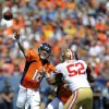 Photo -   Denver Broncos quarterback Peyton Manning (18) passes against the San Francisco 49ers during the first quarter of an NFL preseason football game in Denver, Sunday, Aug. 26, 2012. (AP Photo/Jack Dempsey)