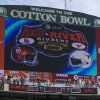 UNIVERSITY OF OKLAHOMA / FANS / COLLEGE FOOTBALL / RED RIVER RIVALRY: Hand out photo of the AT&T Cotton Bowl scoreboard showing the final score for the UT v. OU game, 45 to 35. CREDIT: Jim Sigmon/University of Texas Sports Information. Received 11/26/08 for 1127UTSCORE. ORG XMIT: AAS0811261159552948