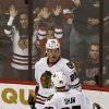 Chicago Blackhawks\' Bryan Bickell (29) celebrates his goal against the Phoenix Coyotes with teammate Andrew Shaw (65) during the second period in an NHL hockey game Thursday, Feb. 7, 2013, in Glendale, Ariz.(AP Photo/Ross D. Franklin)