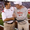 Bob Stoops and Nebraska coach Bo Pelini shake hands before the start of the first half of the college football game between the University of Oklahoma Sooners (OU) and the University of Nebraska Huskers (NU) at the Gaylord Family Memorial Stadium, on Saturday, Nov. 1, 2008, in Norman, Okla. BY CHRIS LANDSBERGER, THE OKLAHOMAN