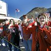 Sooner fans line up outside the stadium to welcome the team as they arrive to the Brut Sun Bowl college football game between the University of Oklahoma Sooners (OU) and the Stanford University Cardinal on Thursday, Dec. 31, 2009, in El Paso, Tex. Photo by Chris Landsberger, The Oklahoman