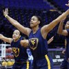 Photo - West Virginia guard Christal Caldwell, left, and center Asya Bussie take defensive positions during practice at the NCAA women's college basketball tournament in Baton Rouge, La., Saturday, March 22, 2014. West Virginia faces Albany in a first-round game on Sunday. (AP Photo/Rogelio V. Solis)