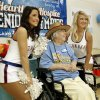 Nancy Wenger, Senior Olympics participant, poses for a photograph with Thunder girls Bailee and Sarah at the Family Life Center of First Baptist Church on Thursday, May 17, 2012, in Norman, Okla. Photo by Steve Sisney, The Oklahoman