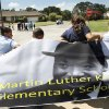 About 400 Students from Martin Luther King Jr. Elementary School, 1201 NE 48, commemorated the 50th anniversary of Martin Luther King, Jr\'s