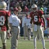 Photo - Florida State's head coach Jimbo Fisher talks with garnet quarterback Jameis Winston in the second half of their spring NCAA college football game on Saturday, April 12, 2014, in Tallahassee, Fla. The Garnet team won the game over coming the Gold squad 31-14. (AP Photo/Steve Cannon)