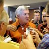 Texas head coach Mack Brown answers questions at NCAA college football Big 12 Media Days, Tuesday, July 24, 2012, in Dallas. (AP Photo/Matt Strasen)