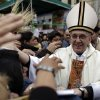 This Aug. 7, 2009 file photo shows Argentina\'s Cardinal Jorge Bergoglio, right, giving a mass outside San Cayetano church in Buenos Aires. Bergoglio, who took the name of Pope Francis, was elected on Wednesday, March 13, 2013 the 266th pontiff of the Roman Catholic Church. (AP Photo/Natacha Pisarenko, files) ORG XMIT: XBL105