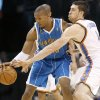 Photo - Oklahoma City's Nick Collison defends David West of New Orleans during the NBA basketball game between the Oklahoma City Thunder and the New Orleans Hornets at the Ford Center in Oklahoma City, Wednesday, January 6, 2009. Photo by Bryan Terry, The Oklahoman ORG XMIT: KOD