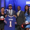 South Carolina cornerback Stephon Gilmore poses for photographs with loved ones after being selected as the 10th pick overall by the Buffalo Bills in the first round of the NFL football draft at Radio City Music Hall, Thursday, April 26, 2012, in New York. (AP Photo/Jason DeCrow)