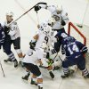 OKC Barons get into a jumble near the Barons\' goal as they play the Toronto Marlies during Field Trip Day at the Cox Convention Center in Oklahoma City, OK, Tuesday, Nov. 8, 2011. By Paul Hellstern, The Oklahoman ORG XMIT: KOD
