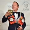 Actor Kiefer Sutherland reacts as he is honored as the Hasty Pudding Man of the Year at Harvard University in Cambridge, Mass., Friday, Feb. 8, 2013. Sutherland was roasted and received the pudding pot from the nation\'s oldest undergraduate drama troupe. (AP Photo/Josh Reynolds)