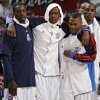 Oklahoma City\'s Jeff Green, Kevin Durant, Russell Westbrook and Serge Ibaka (9) looks on from the bench during the preseason NBA basketball game between the Oklahoma City Thunder and the Phoenix Suns at the Ford Center on Monday, Oct. 12, 2009, in Oklahoma City, Okla. Photo by Chris Landsberger, The Oklahoman. ORG XMIT: KOD