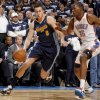Denver\'s Danilo Gallinari (8) drives past Oklahoma City\'s Kevin Durant (35)during the NBA basketball game between the Denver Nuggets and the Oklahoma City Thunder in the first round of the NBA playoffs at the Oklahoma City Arena, Wednesday, April 27, 2011. Photo by Sarah Phipps, The Oklahoman
