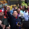 Venezuela\'s President Hugo Chavez arrives to a polling station during the presidential election in Caracas, Venezuela, Sunday, Oct. 7, 2012. Chavez is running for re-election against opposition candidate Henrique Capriles. (AP Photo/Rodrigo Abd)