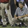Photo -   Washington State head coach Mike Leach watches play against UNLV from the sidelines in the fourth quarter during an NCAA college football game, Friday, Sept. 14, 2012, in Las Vegas. Washington State won 35-27.(AP Photo/Julie Jacobson)
