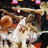 Oklahoma\'s Sharane Campbell (24) has the ball knocked away by Cal State Northridge\'s Marta Masoni (24) in the second half during a women\'s college basketball game between the University of Oklahoma (OU) and Cal State Northridge at the Lloyd Noble Center in Norman, Okla., Saturday, Dec. 29, 2012. OU won, 79-57. Photo by Nate Billings, The Oklahoman