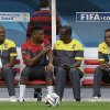 Photo - Cameroon's Samuel Eto'o, second from left, talks with a member of his team during an official training session the day before the group A World Cup soccer match between Brazil and Cameroon at the Estadio Nacional in Brasilia, Sunday, June 22, 2014. Cameroon began the tournament with a 1-0 loss to Mexico and a 4-0 defeat to Croatia and they will want to leave the World Cup by beating the hosts. (AP Photo/Andre Penner)