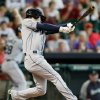 Seattle Mariners\' Nick Franklin hits a grand slam in the second inning against the Houston Astros during a baseball game on Sunday, July 21, 2013, in Houston. (AP Photo/Bob Levey)