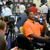 OSU / COLLEGE FOOTBALL: Oklahoma State University\'s Russell Okung asks a question of a teammate during the Big 12 Conference Football Media Days in Irving, Texas, Monday, July 27, 2009. Photo by Bryan Terry, The Oklahoman ORG XMIT: kod