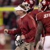 Defensive Coordinator Mike Stoops yells to the defense during a time out during the first half of the college football game between the University of Oklahoma Sooners (OU) and the Fighting Irish of Notre Dame (ND) at Gaylord Family-Oklahoma Memorial Stadium in Norman, Okla., on Saturday, Oct. 27, 2012. Photo by Steve Sisney, The Oklahoman