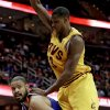 New York Knicks\' Tyson Chandler, bottom, looks for help under pressure from Cleveland Cavaliers\' Tristan Thompson during the first quarter of an NBA basketball game, Monday, March 4, 2013, in Cleveland. (AP Photo/Tony Dejak)