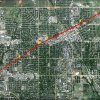 Google Maps image showing the estimated path of the tornado that touched down in Norman on April 13, 2012.