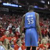 Oklahoma City Thunder\'s Kevin Durant (35) talks with Houston Rockets fans in the first quarter of Game 6 in a first-round NBA basketball playoff series Friday, May 3, 2013, in Houston. (AP Photo/Pat Sullivan)