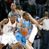 Chris Paul of New Orleans get tangled up with Nick Collison of Oklahoma City during the NBA basketball game between the Oklahoma City Thunder and the New Orleans Hornets at the Ford Center in Oklahoma City on Friday, Nov. 21, 2008. BY BRYAN TERRY, THE OKLAHOMAN