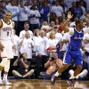 Oklahoma City\'s Russell Westbrook (0) celebrates after he if folded by Los Angeles\' Chris Paul (3) on a 3-point shot in the late in the fourth quarter during Game 5 of the Western Conference semifinals in the NBA playoffs between the Oklahoma City Thunder and the Los Angeles Clippers at Chesapeake Energy Arena in Oklahoma City, Tuesday, May 13, 2014. Photo by Sarah Phipps, The Oklahoman