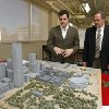 Blair Humphreys, director of the Institute for Quality Communities (left), and Ron Frantz at the School of Architecture of the University of Oklahoma on Wednesday, Nov. 9, 2011, in Norman, Okla. The model depicts downtown Oklahoma City. Photo by Steve Sisney, The Oklahoman