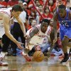 Oklahoma City\'s Reggie Jackson (15) goes for the ball beside Houston\'s Chandler Parsons (25), and Patrick Beverley (12) during Game 6 in the first round of the NBA playoffs between the Oklahoma City Thunder and the Houston Rockets at the Toyota Center in Houston, Texas, Friday, May 3, 2013. Oklahoma City won 103-94. Photo by Bryan Terry, The Oklahoman