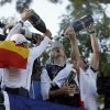 Players pour Champagne on Europe\'s Justin Rose as the celebrate after winning the Ryder Cup PGA golf tournament Sunday, Sept. 30, 2012, at the Medinah Country Club in Medinah, Ill. (AP Photo/Chris Carlson) ORG XMIT: PGA222