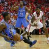 Oklahoma City\'s DeAndre Liggins (25) falls to the floor as Houston\'s Aaron Brooks (0), and Oklahoma City\'s Kevin Durant (35) watch during Game 4 in the first round of the NBA playoffs between the Oklahoma City Thunder and the Houston Rockets at the Toyota Center in Houston, Texas,Sunday, April 29, 2013. Oklahoma City lost 105-103. Photo by Bryan Terry, The Oklahoman