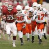 Oklahoma\'s Allen Patrick (23) takes the ball up field past the Oklahoma State defense during the first half of the college football game between the University of Oklahoma Sooners (OU) and the Oklahoma State University Cowboys (OSU) at the Gaylord Family-Memorial Stadium on Saturday, Nov. 24, 2007, in Norman, Okla. Photo By Bryan Terry, The Oklahoman