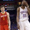 Oklahoma City\'s Kevin Durant (35) reacts in front of Houston\'s Omer Asik (3) during Game 5 in the first round of the NBA playoffs between the Oklahoma City Thunder and the Houston Rockets at Chesapeake Energy Arena in Oklahoma City, Wednesday, May 1, 2013. Photo by Sarah Phipps, The Oklahoman