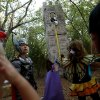 Children in costumes pass by Rapunzel and her tower at Story Book Forest at Arcadia Lake in Edmond on Tuesday, Oct. 25, 2011. Photo by John Clanton, The Oklahoman