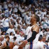 Oklahoma City\'s Russell Westbrook (0) celebrates during Game 5 in the first round of the NBA playoffs between the Oklahoma City Thunder and the Memphis Grizzlies at Chesapeake Energy Arena in Oklahoma City, Tuesday, April 29, 2014. Photo by Sarah Phipps, The Oklahoman